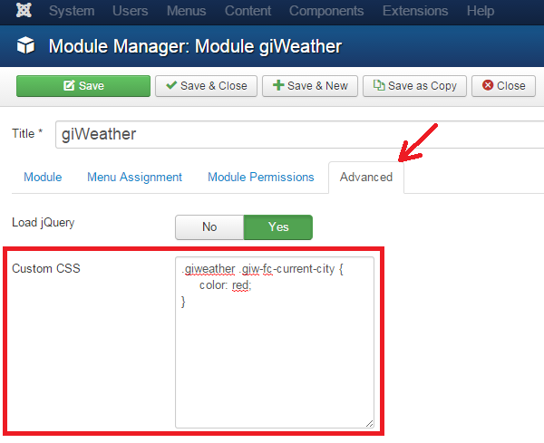 Documentation of giWeather the Joomla! weather forecast module